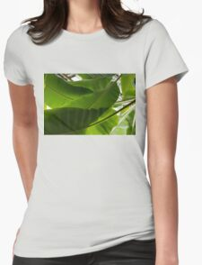 Luscious Tropical Greens - Huge Leaves Patterns - Horizontal View Upwards Left Womens Fitted T-Shirt