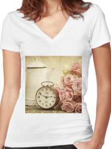 vintage,shabby chic,retro clock,pitcher,grunge,girly,pink,roses Women's Fitted V-Neck T-Shirt
