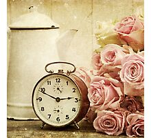 vintage,shabby chic,retro clock,pitcher,grunge,girly,pink,roses Photographic Print