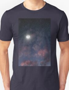 Glowing Moon on the night sky through pink clouds Unisex T-Shirt