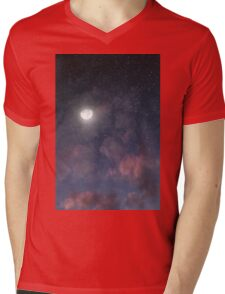 Glowing Moon on the night sky through pink clouds Mens V-Neck T-Shirt