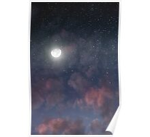 Glowing Moon on the night sky through pink clouds Poster