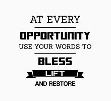 At Every Opportunity Use Your Words to Bless Lift and Restore - Black Print Men's Baseball ¾ T-Shirt