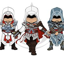 Ezio Auditore da Firenze Chibi Assassin Trio by SushiKittehs