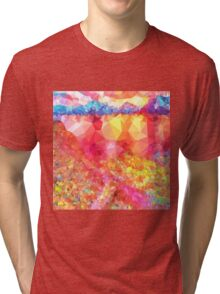 Colorful,polygonal,orange,red,blue,yellow,green,green,abstract art Tri-blend T-Shirt