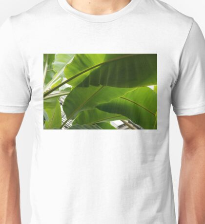 Luscious Tropical Greens - Huge Leaves Patterns - Horizontal View Downwards Right Unisex T-Shirt