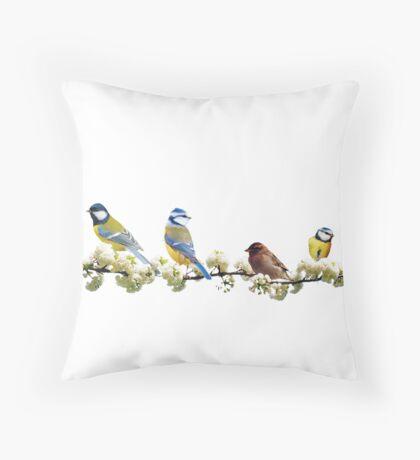Bluebirds and Sparrow Throw Pillow