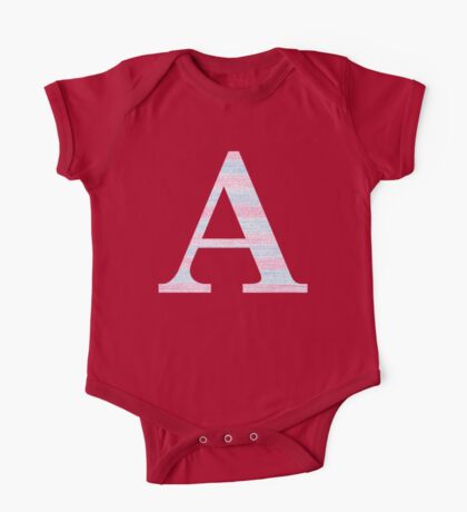 Letter A Blue And Pink Dots And Dashes Monogram Initial One Piece - Short Sleeve