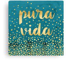 Pura Vida Gold Foil on Teal Painting Canvas Print