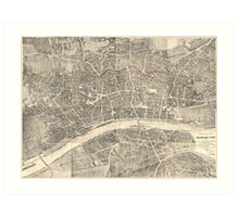 Vintage Map of Frankfurt Germany (1864) Art Print
