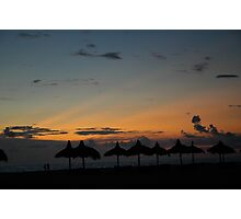 Beach chickees at sunset Photographic Print