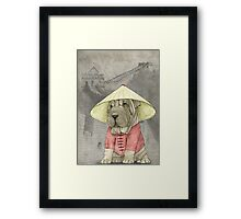 Shar Pei on The Great Wall Framed Print
