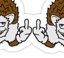 freunde 2 team paar kumpel gemein beleidigung böse wichser mittelfinger zeigen hand zeichen rebellisch igel lustig fuck you off  Sticker