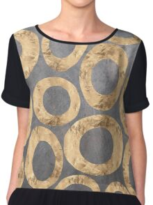 Abstract gold shapes on charcoal background  Chiffon Top