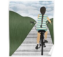 Cyclist From Behind Poster