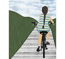 Cyclist From Behind Photographic Print