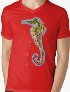 Decorative Seahorse Mens V-Neck T-Shirt
