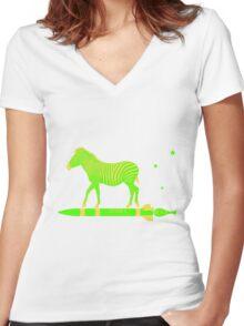 Zebra Rock It 13A Women's Fitted V-Neck T-Shirt