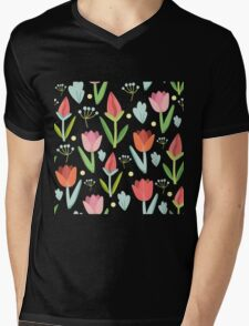 Cute Tulips Seamless Pattern Mens V-Neck T-Shirt