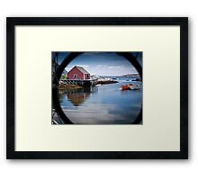 Peggy's Cove through a lobster pot Framed Print