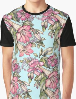 Red Trumpet Vine flowers on blue Graphic T-Shirt