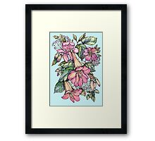 Red Trumpet Vine flowers on blue Framed Print
