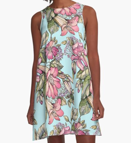Red Trumpet Vine flowers on blue A-Line Dress