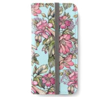 Red Trumpet Vine flowers on blue iPhone Wallet/Case/Skin