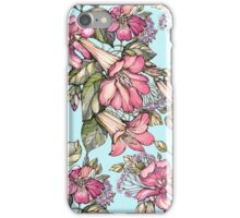 Red Trumpet Vine flowers on blue iPhone Case/Skin