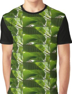 Luscious Tropical Greens - Huge Leaves Patterns - Horizontal View Downwards Left Graphic T-Shirt