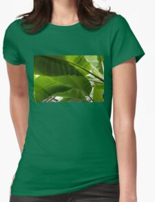 Luscious Tropical Greens - Huge Leaves Patterns - Horizontal View Downwards Left Womens Fitted T-Shirt