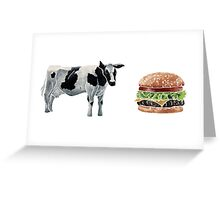 cow and hamburger Greeting Card