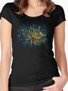 Peacock Feather Illustration Graphic Design Bird Wildlife Women's Fitted Scoop T-Shirt