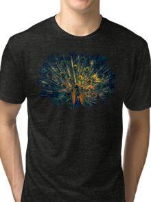Peacock Feather Illustration Graphic Design Bird Wildlife Tri-blend T-Shirt