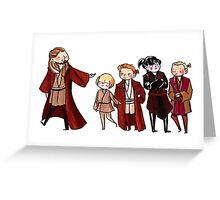 Qui-Gon, Anakin, Obi-Wan, Xanatos, and Feemor Greeting Card