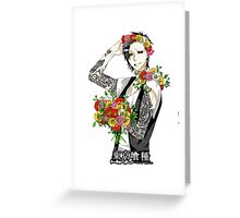 tattooed uta and his flowers  Greeting Card