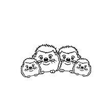 eltern paar pärchen liebe 2 kinder mama papa familie geschwister brüder schwestern kind baby nachwuchs süßer kleiner niedlicher igel team putzig  Photographic Print