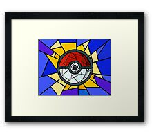 Stained Glass Pokeball Framed Print