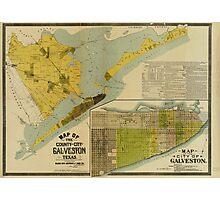 Vintage Map of Galveston Texas (1891) Photographic Print