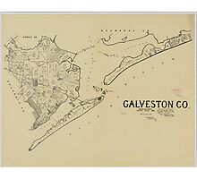 Vintage Map of Galveston Texas (1892) Photographic Print