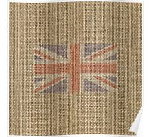 Red White and Blue UK Union Jack Burlap Flag Poster