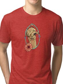 Alpaca with flower n hearts Tri-blend T-Shirt