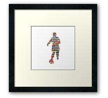 Coloured Brick Footballer Framed Print