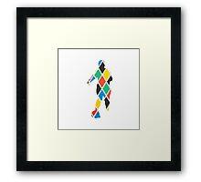 Coloured Diamond Footballer Framed Print