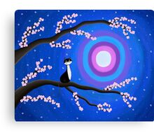 Cat - Cherry Blossom - Moon Canvas Print