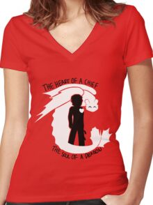 The Heart of a Chief Women's Fitted V-Neck T-Shirt