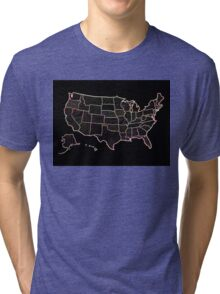 USA map doodle  Tri-blend T-Shirt
