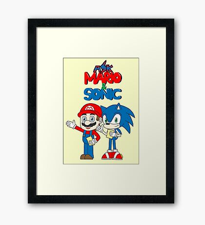 Ask Mario and Sonic Framed Print