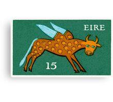 Vintage 1975 Ireland Winged Ox Postage Stamp Canvas Print