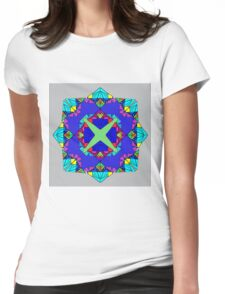 Psychedelic Bluish Mandela  Womens Fitted T-Shirt